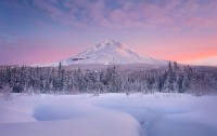 Oregon's Mount Hood photographed at sunrise after a new snow.