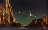 Representación artística de Saturno visto desde Titán (del genio Bonestell)