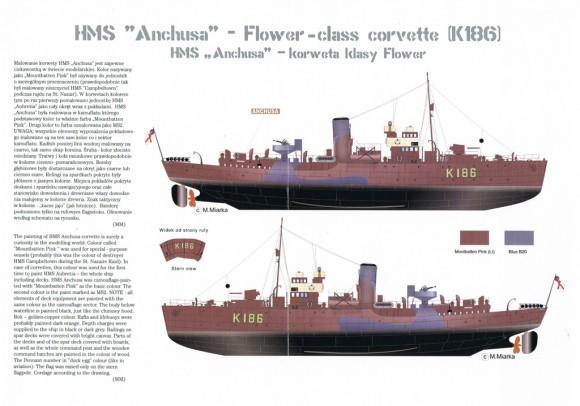 """HMS """"Anchusa"""", uno de los barcos rosas de Mountbatten"""