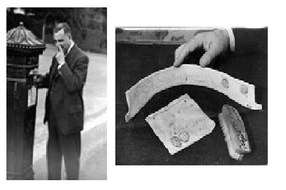 Bray enviando una cebolla por correo.  A la derecha: algunos curiosos objetos enviados