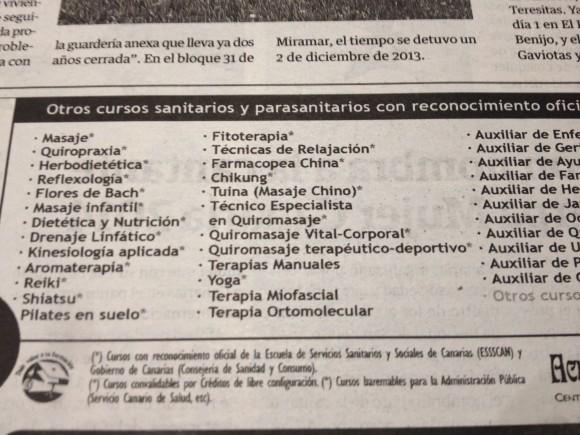 Quiropraxia, Flores de Bach, Kinesiología... todo lo que puedas imaginar y más, avalado por el Gobierno Canario