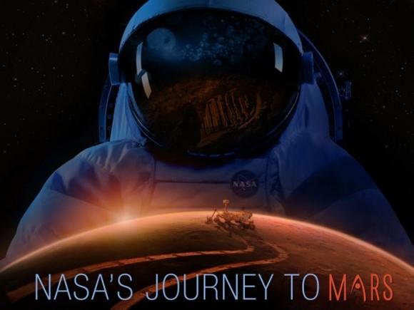 Cartel del anuncio del viaje tripulado de NASA a Marte