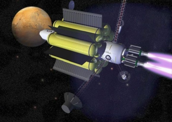 Recreación artística de un cohete con propulsión de plasma rumbo a Marte | imagen Ad Astra/NASA