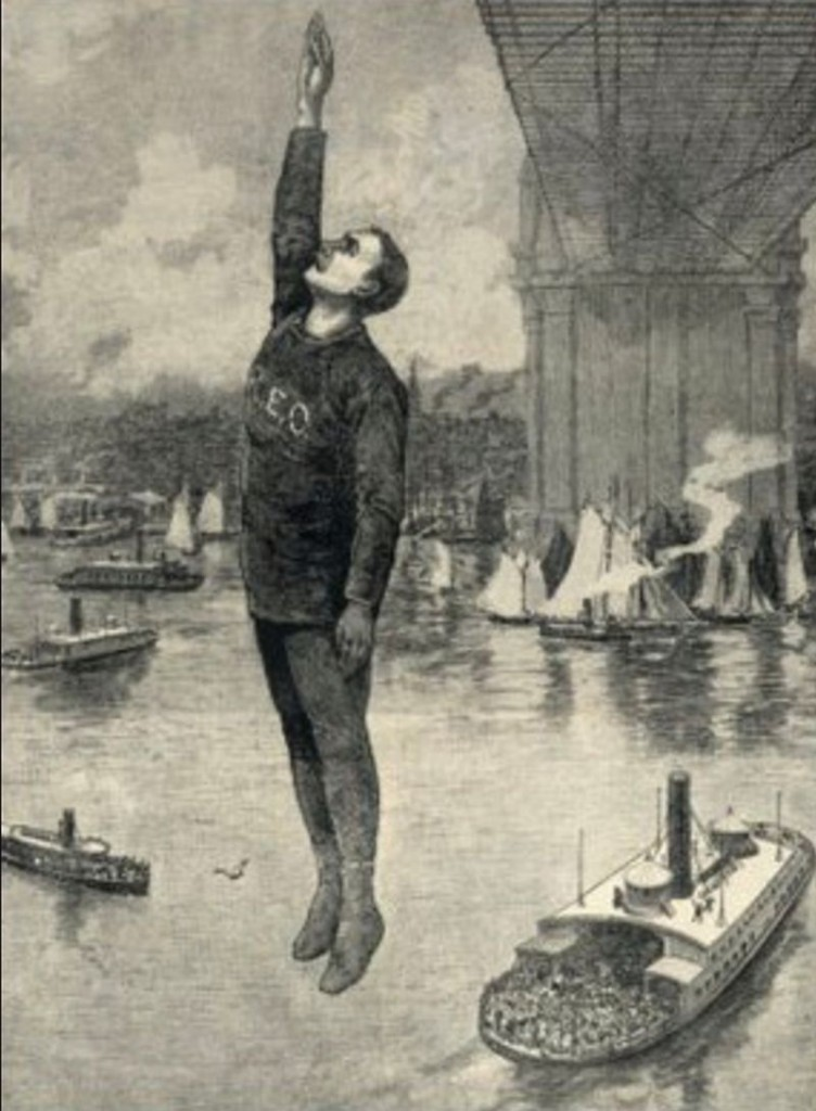 Robert Emmet Odlum en su salto fatal desde el Puente de Brooklin en el Frank Leslie's Illustrated Newspaper