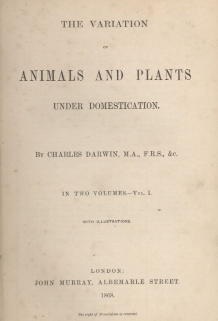1868. The variation of animals and plants under domestication (volumen 1)