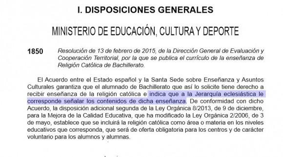 """""""a la Jerarquía eclesiástica le corresponde señalar los contenidos de dicha enseñanza... [...] será de oferta obligatoria para los centros y de carácter voluntario para los alumnos y alumnas"""""""