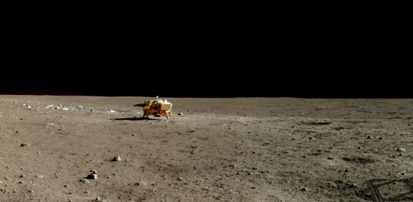 La sonda Chang'e3 en la superficie lunar