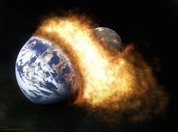 Un estudio publicado en Science apunta no hacia un choque lateral sino a un impacto frontal entre Theia y la Tierra