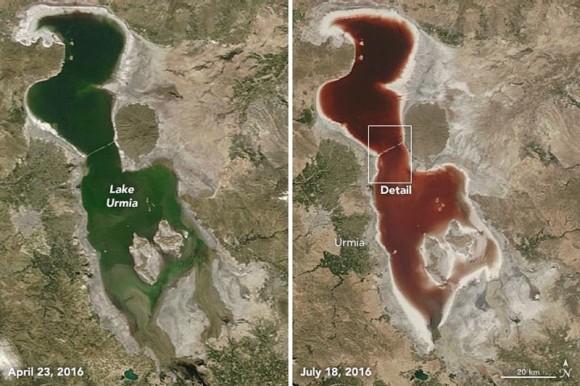 Lago Urmía en Irán | Imagen NASA Earth Observatory