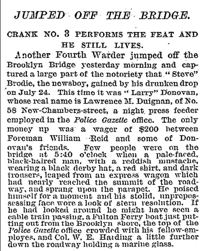 Entrevista a Donovan en el New York Times, 29 agosto 1886 | Dominio Público