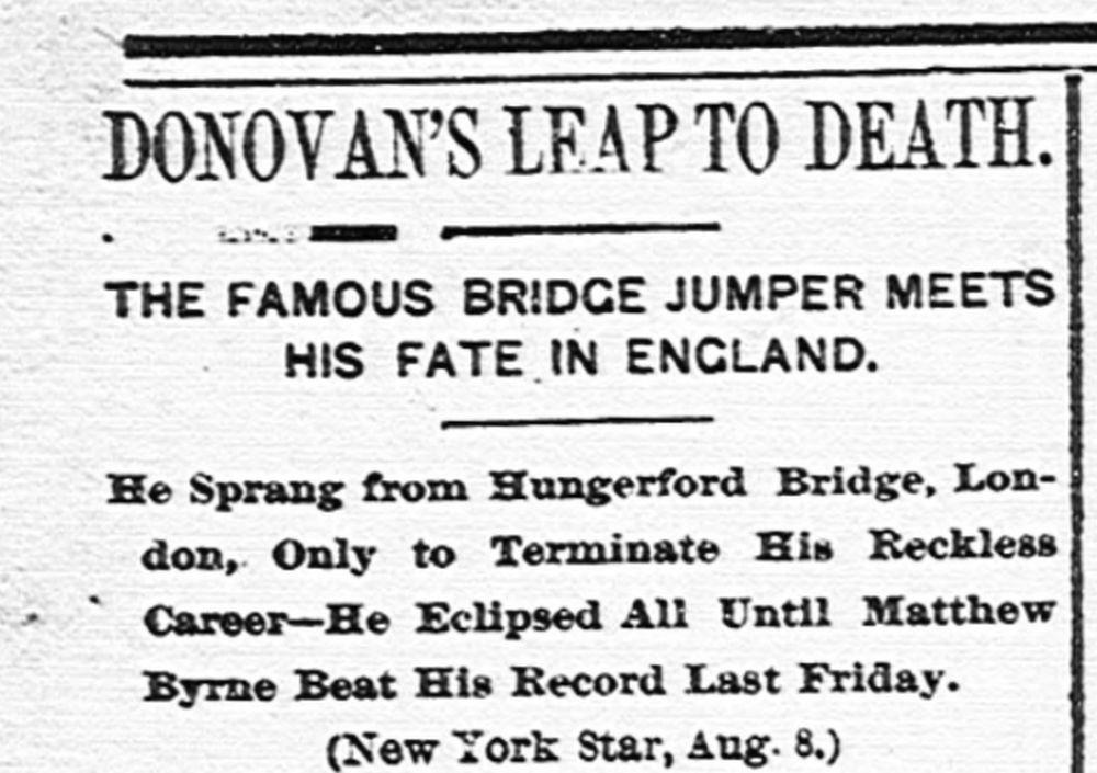 Artículo sobre la muerte de Donovan en agosto de 1888 |